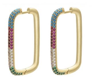 Posh Rectangular Hoops by Accessory Concierge at Accessory Concierge