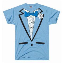 Powder Blue Vintage Tuxedo Tux T Shirt by DirtyRagz at Amazon