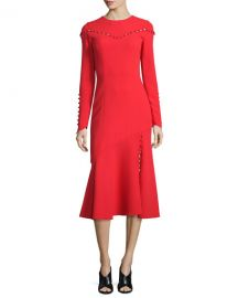 Prabal Gurung Button-Trim Long-Sleeve Midi Dress  Navy   Neiman at Neiman Marcus