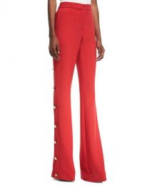 Prabal Gurung High-Waist Flared-Leg Crepe Pants with Side-Button at Neiman Marcus