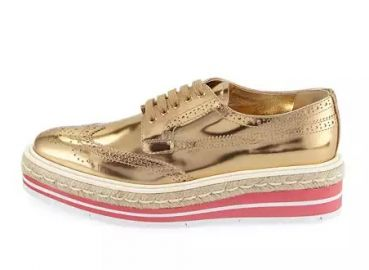 Prada Metallic Wing-Tip Platform Loafer  Gold at Neiman Marcus