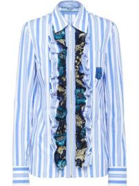 Prada ruffled striped shirt at Farfetch