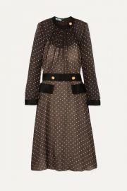 Prada - Belted polka-dot chiffon midi dress at Net A Porter