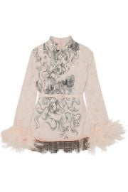 Prada   Feather-trimmed embellished printed crepe blouse at Net A Porter