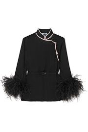 Prada - Feather-trimmed silk-crepon top at Net A Porter