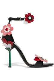 Prada - Floral-appliqu  d patent-leather sandals at Net A Porter