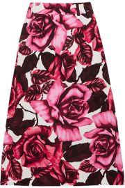 Prada - Floral-print cotton-poplin skirt at Net A Porter