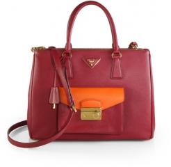 Prada - Saffiano Lux Bicolor Top-Handle Bag in Pink at Saks Fifth Avenue