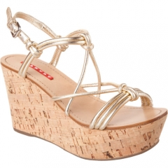 Prada Linea Rossa Cork Wedge Sandal at Barneys