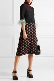 Prada Printed crepe skirt at Net A Porter