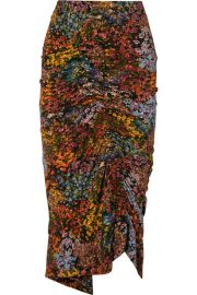 Preen by Thornton Bregazzi - Aaliyah ruched floral-print stretch-crepe midi skirt at Net A Porter