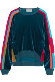 Preen by Thornton Bregazzi   Anouk color-block velour and cotton-blend sweatshirt at Net A Porter