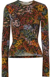 Preen by Thornton Bregazzi - Norah ruched floral-print stretch-crepe top at Net A Porter