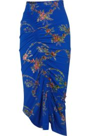 Preen by Thornton Bregazzi - Tracy ruched floral-print stretch-crepe midi skirt at Net A Porter