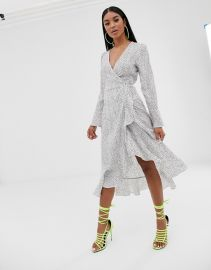 Pretty Lavish midi wrap frill dress in polka dot   ASOS at Asos