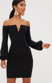 Pretty Little Thing Black Balloon Sleeve Bardot Bodycon Dress at Pretty Little Thing