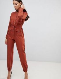 PrettyLittleThing utility jumpsuit in tan   ASOS at Asos