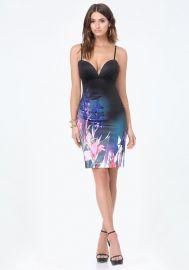 Print Deep V Midi Dress at Bebe