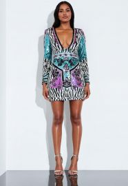 Print Embellished Mini Dress by Peace + Love at Miss Guided
