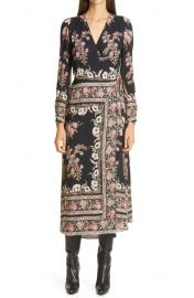 Print Long Sleeve Jersey Wrap Dress at Nordstrom