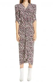 Print Ruched Ruffle Stretch Silk Midi Dress by Isabel Marant at Nordstrom