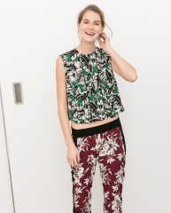 Print Top with Frills at Zara