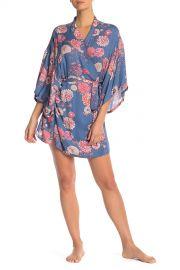 Printed 3/4 Sleeve Robe at Josie