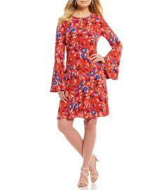 Printed Bell Sleeve Dress at Dillards