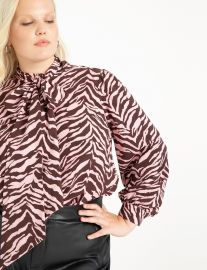 Printed Blouse with Tie Neck at Eloquii