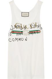 Printed Cotton-Jersey Tank by Gucci at Net A Porter