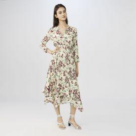 Printed Crepe Asymmetric Dress by Maje at Maje