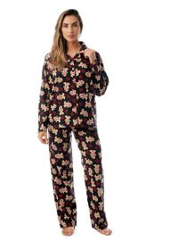 Printed Flannel Button Front PJ Pant at Amazon