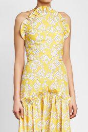 Printed Halter Dress with Ruffles at Stylebop