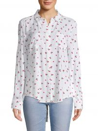Printed High-Low Button-Down Shirt at Saks Off Fifth
