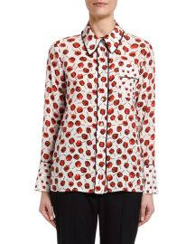 Printed Long-Sleeve Blouse with Embellished Collar by No.21 at Neiman Marcus