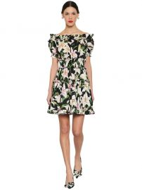 Printed Off-Shoulder Cotton Poplin Dress by Dolce gabbana at Luisaviaroma