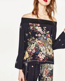 Printed Off the Shoulder Top at Zara