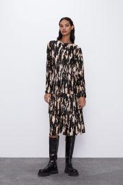 Printed Pleated Dress by Zara at Zara