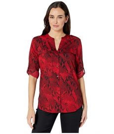 Printed Roll Sleeve Crew Neck at Zappos