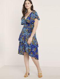 Printed Ruffle Wrap Dress by Eloquii at Eloquii