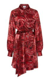 Printed Silk-Satin Wrap Dress by Ganni at Moda Operandi