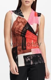 Printed Sleeveless Wrap Top by Calvin Klein at Macys
