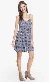 Printed Strappy Trapeze Babydoll Dress at Express