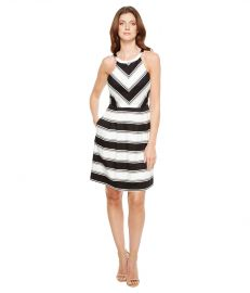 Printed Stripe Stretch Cotton Halter Neck Fit and Flare Dress by Adrianna Papell  at Zappos
