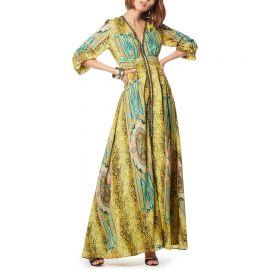 Printed V-neck Long Sleeves Maxi Dress at Gracia