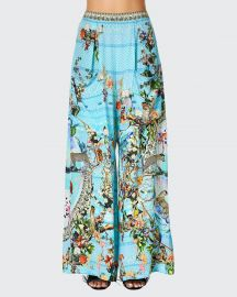 Printed Wide-Leg Coverup Trousers at Camilla