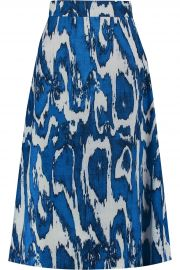 Printed Wool and Silk-Blend Crepe Skirt  at The Outnet