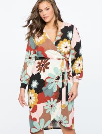 Printed Wrap Dress with Tie by Eloquii at Eloquii