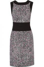 Printed crepe and knitted wool dress at The Outnet