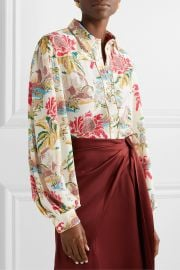 Printed crepe blouse at Net A Porter